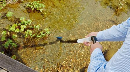 お庭の池をお掃除